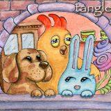 Мои сказочные герои: Пес, Петух и Заяц после обеденного чаепития.